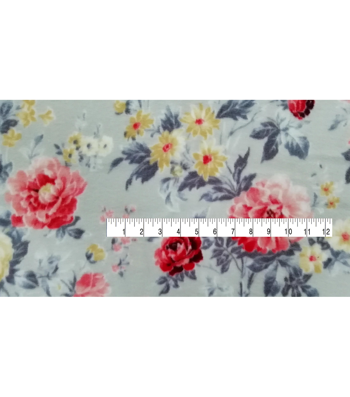 Super Fleece Fabric -Pretty Floral on Gray