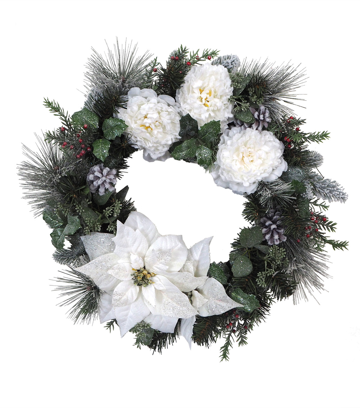 Blooming Holiday Christmas 25\u0027\u0027 Poinsettia, Peony & Berry Wreath-White
