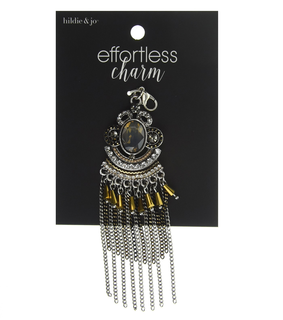 hildie & jo Effortless Charm Silver Tassel-Gold Stones
