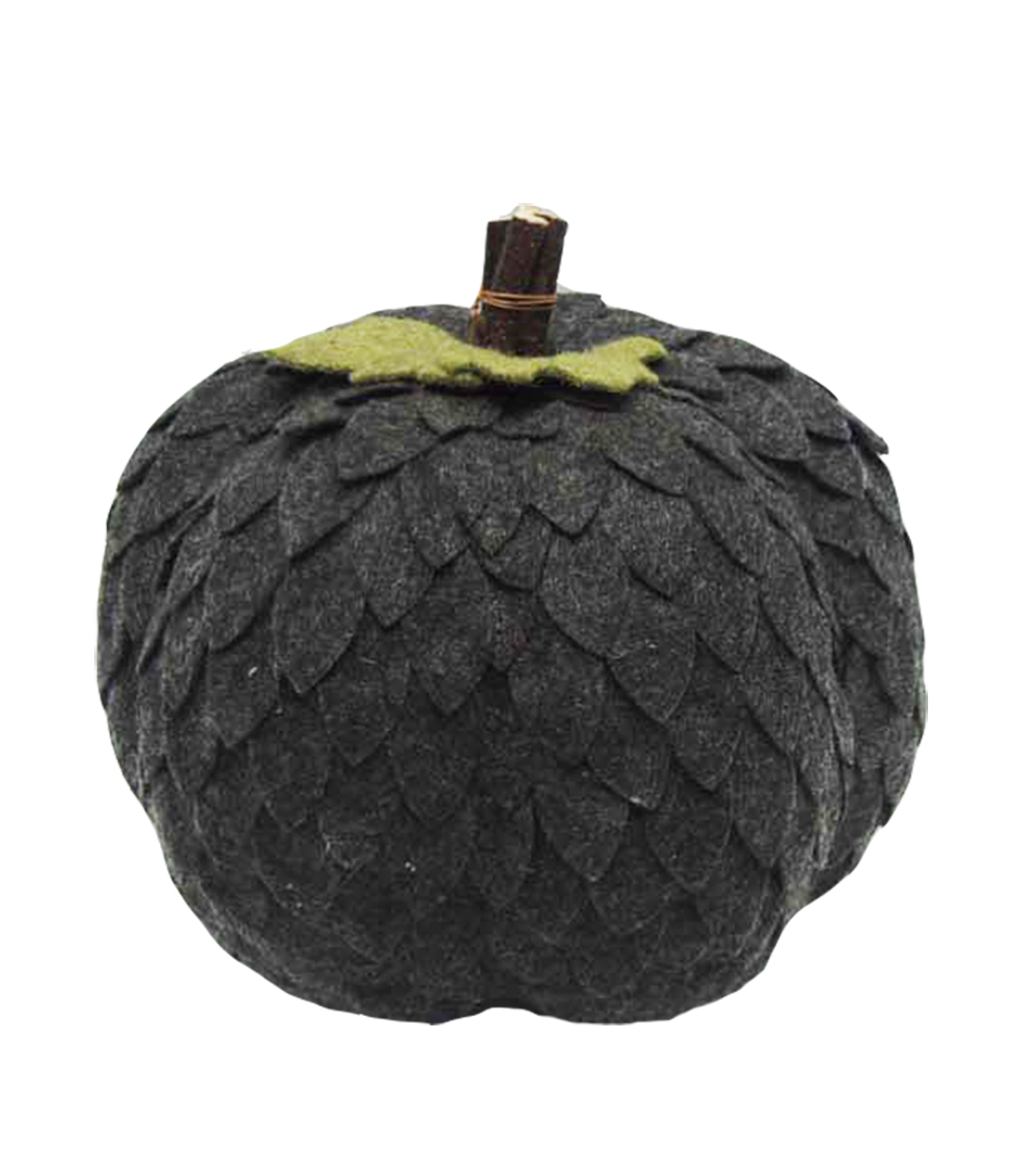 Simply Autumn Large Felt Pumpkin with Leaves-Gray