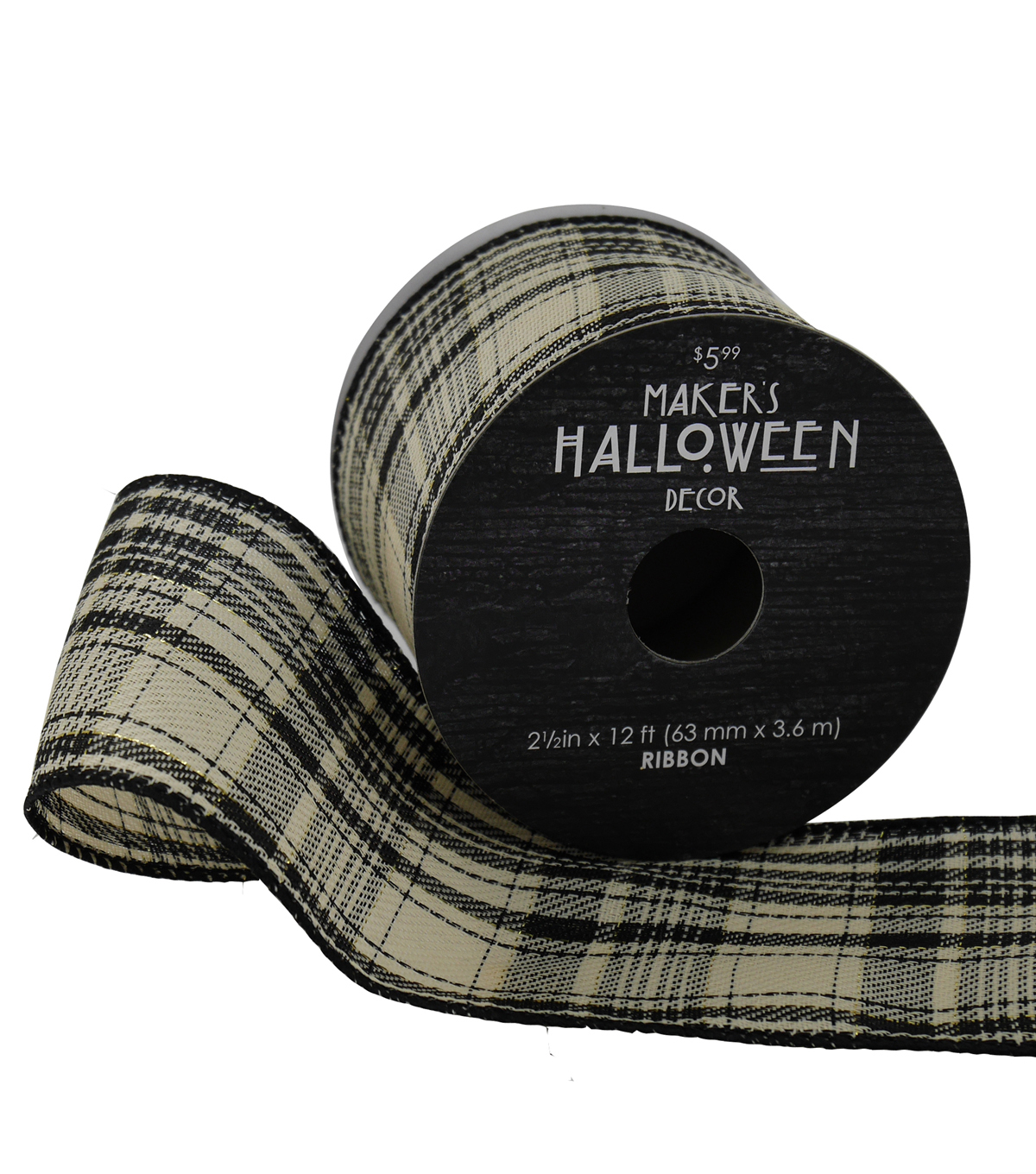 Maker\u0027s Halloween Ribbon 2.5\u0027\u0027 x 12\u0027-Black, Gold & Ivory Plaid