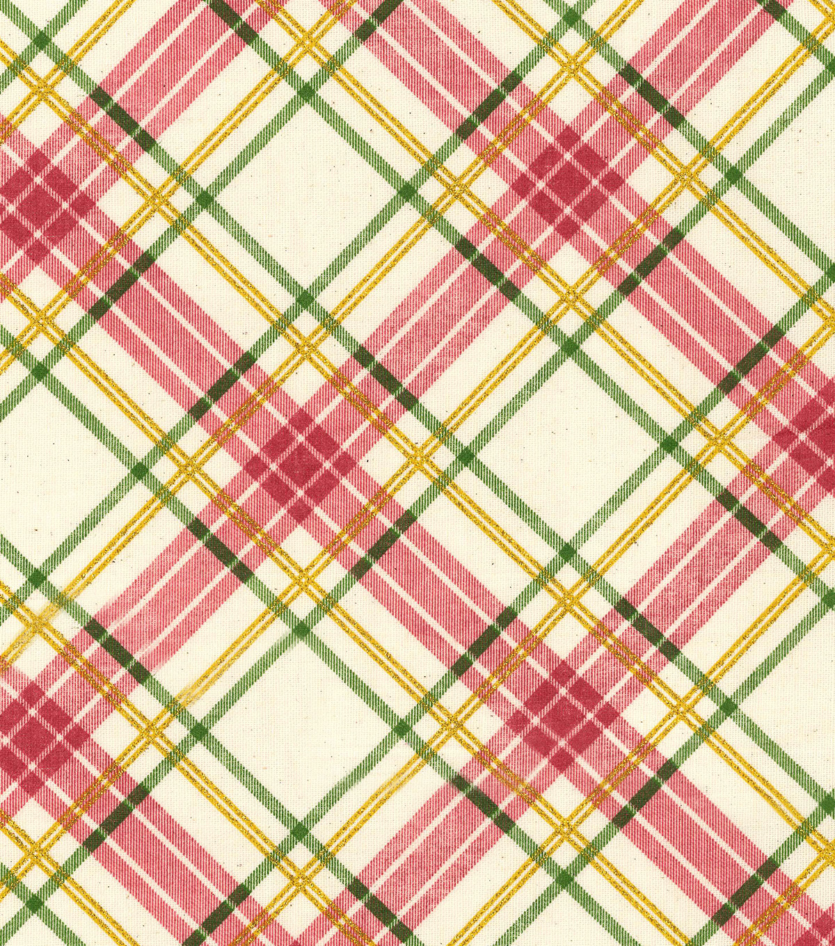 Christmas Cotton Fabric-Plaid Osnaburg Glitter