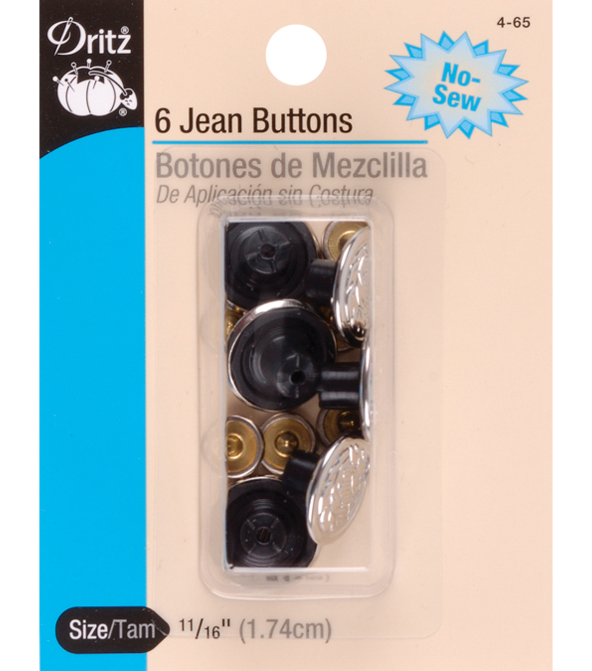 Dritz 11/16\u0027\u0027 No-Sew Bachelor Buttons 6pcs