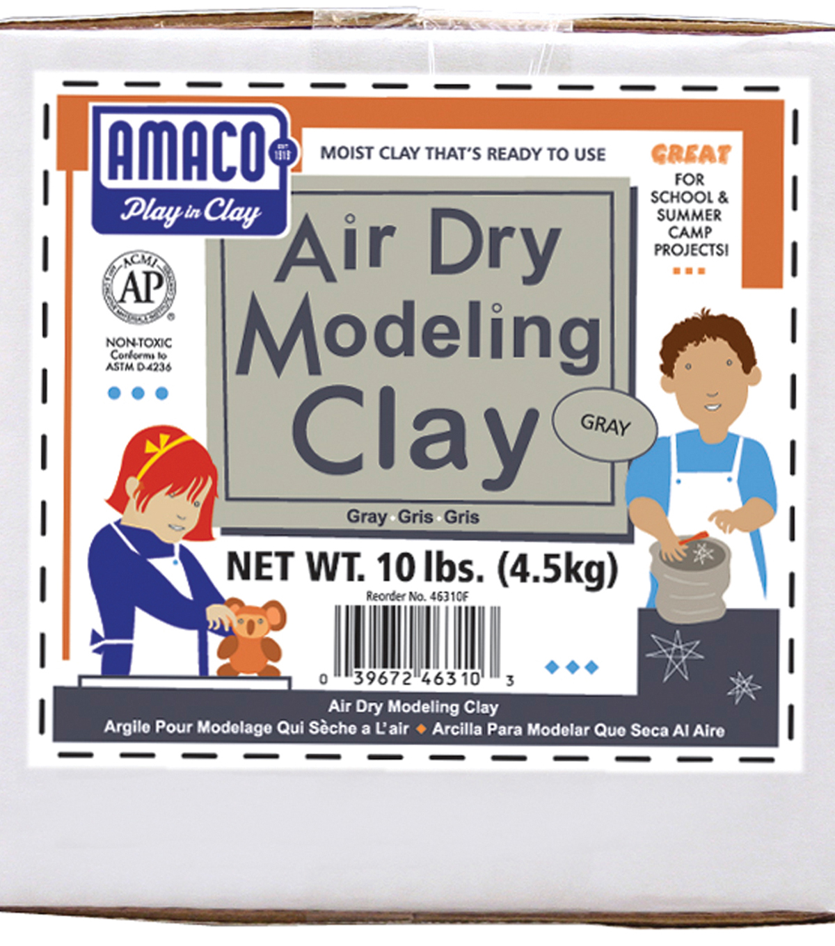Amaco Air Dry Modeling Clay 10-Pound Gray New