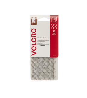 VELCRO Brand Thin Clear Fasteners, 3/8in dots, 56 ct
