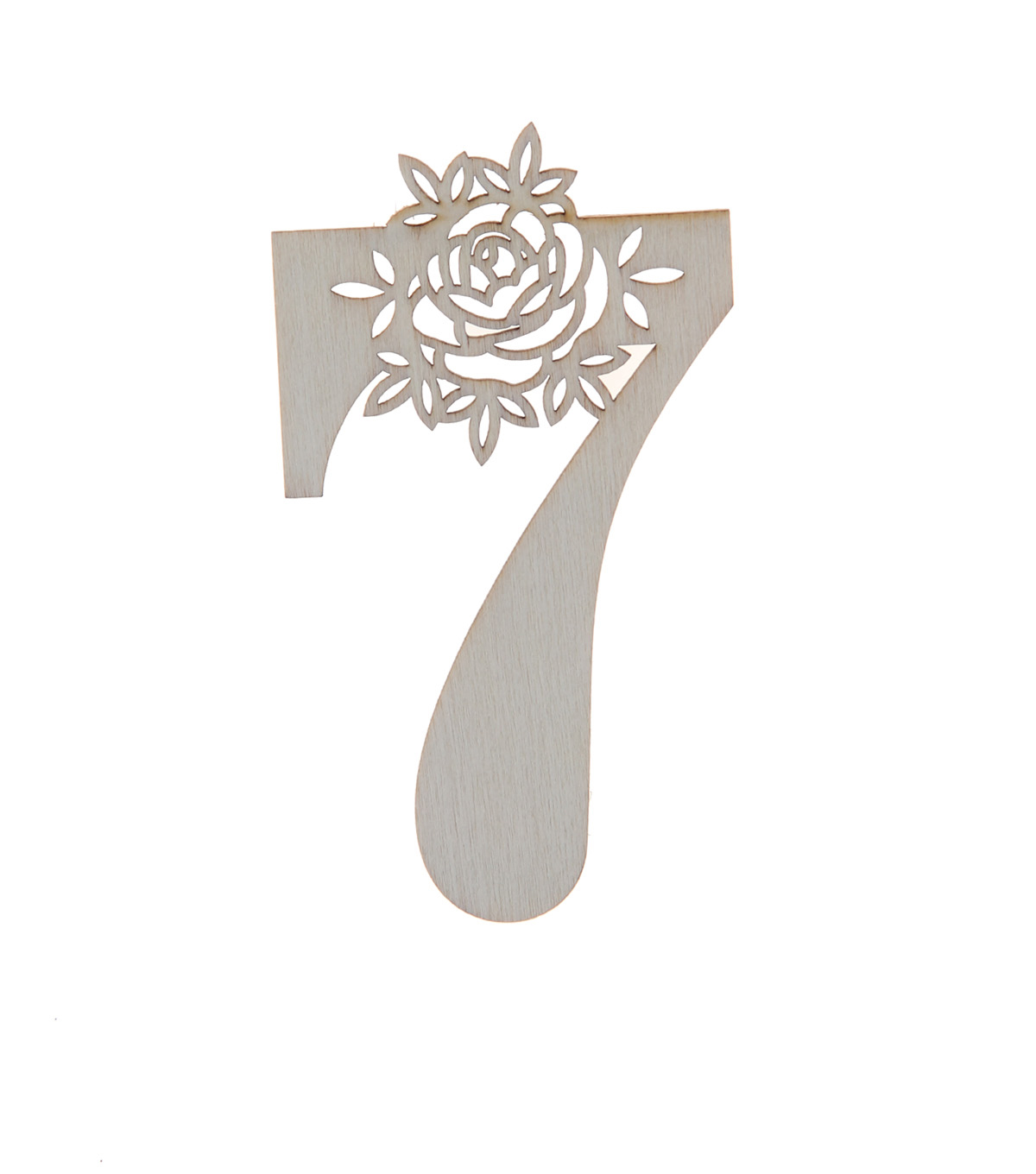 Simply Spring 3\u0027\u0027x3\u0027\u0027 Unfinished Wood Number with Floral, 7