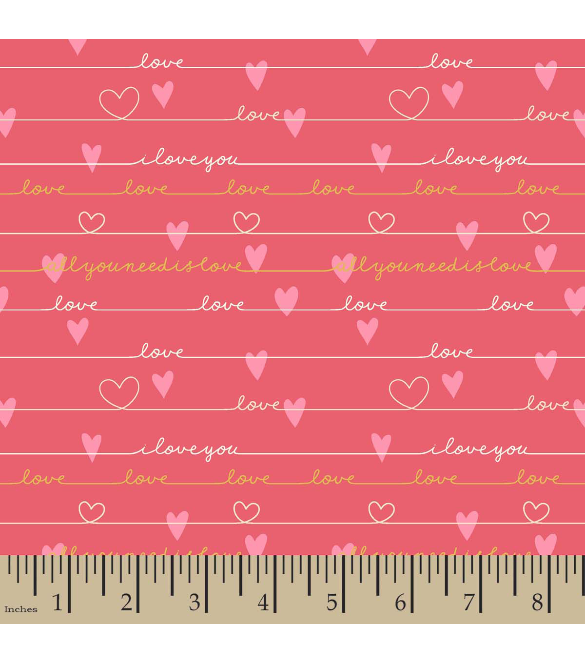 Snuggle Flannel Fabric -Love Pink