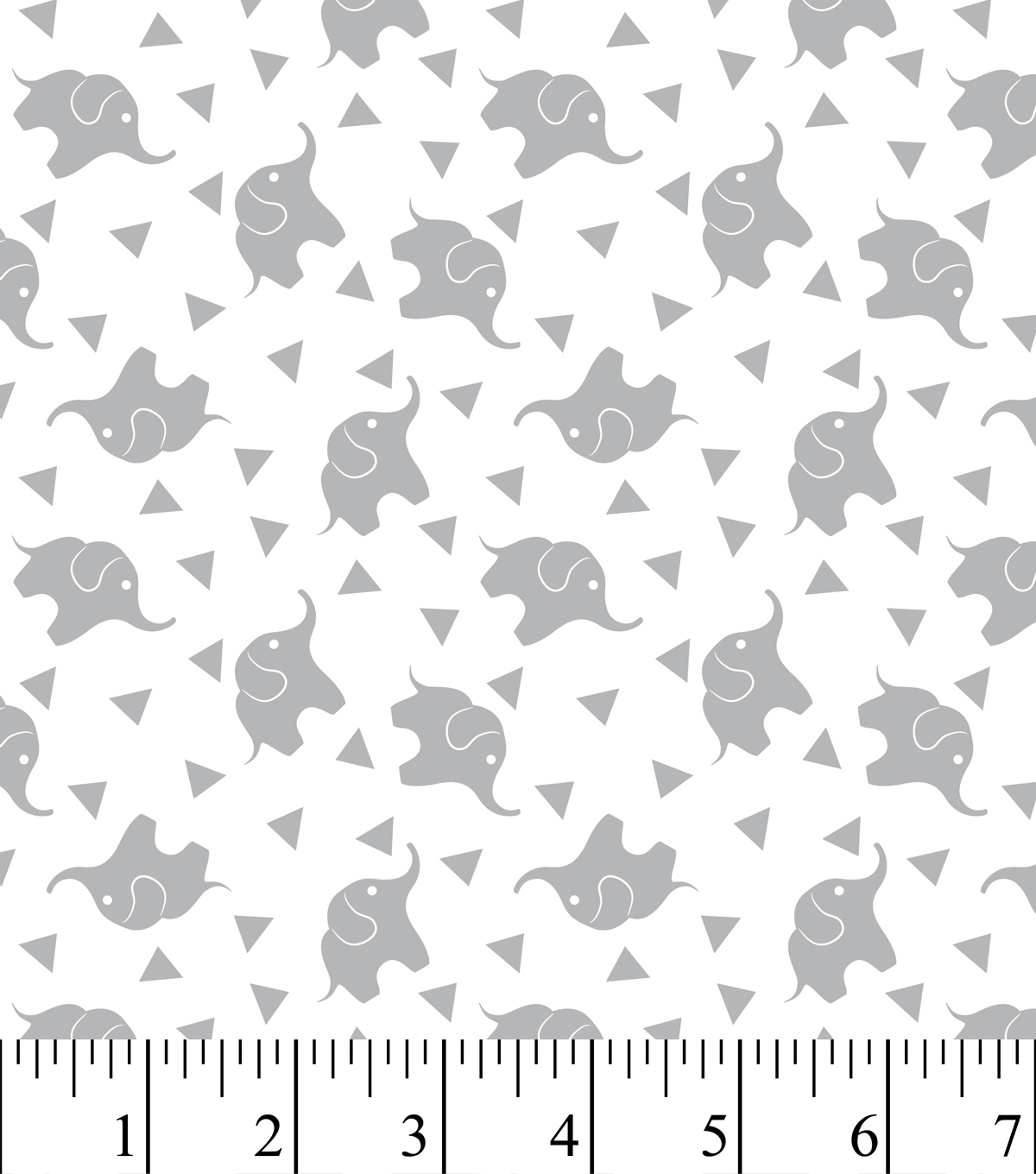 Nursery Flannel Fabric Elephant Confetti Gray