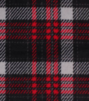 Anti-Pill Fleece Fabric -Red Gray Black Plaid