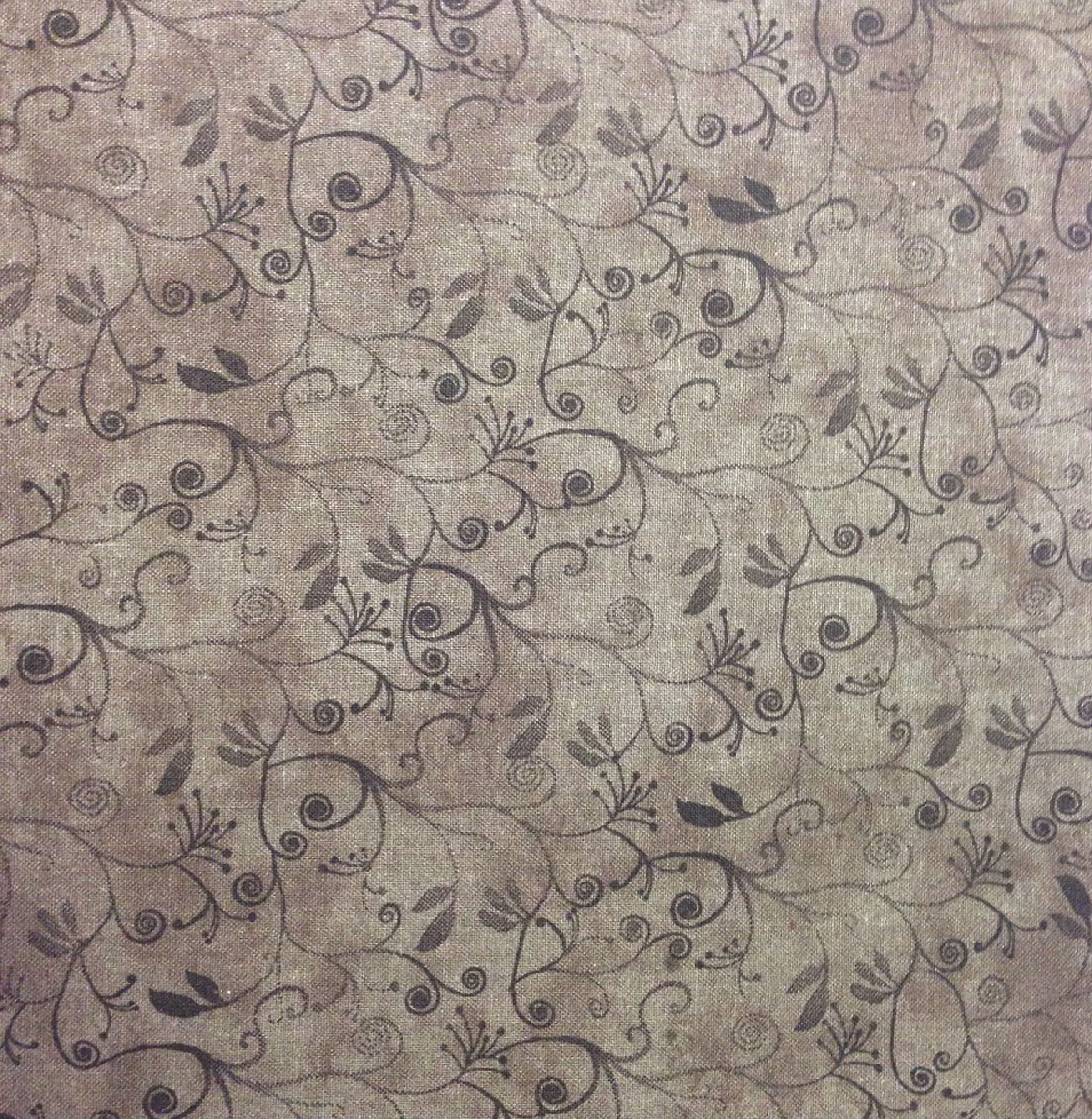 Keepsake Calico Cotton Fabric 43\u0027\u0027-Flourish on Brown Blender