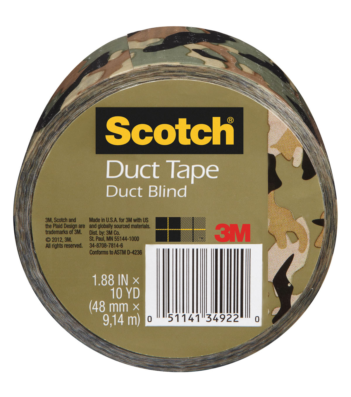 Scotch Printed Duct Tape 1.88\u0027\u0027x10 yds-Camouflage