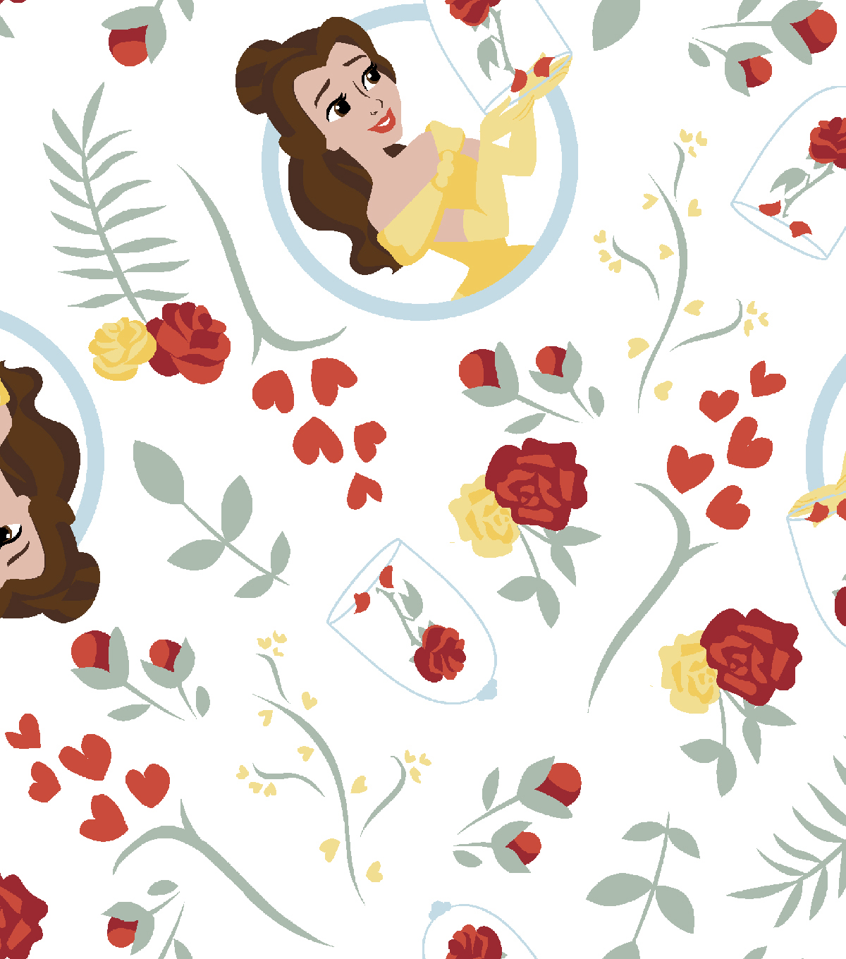 Disney Beauty & the Beast Flannel Fabric 42\u0022-Belle with Roses