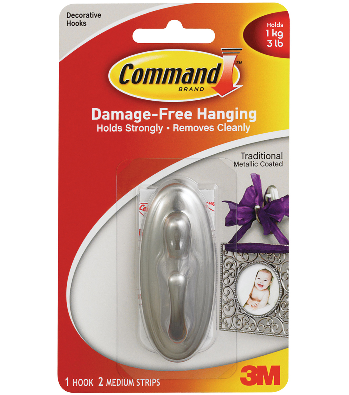 Command Traditional Medium Hook W/ Adhesive-1 Brushed Nickel