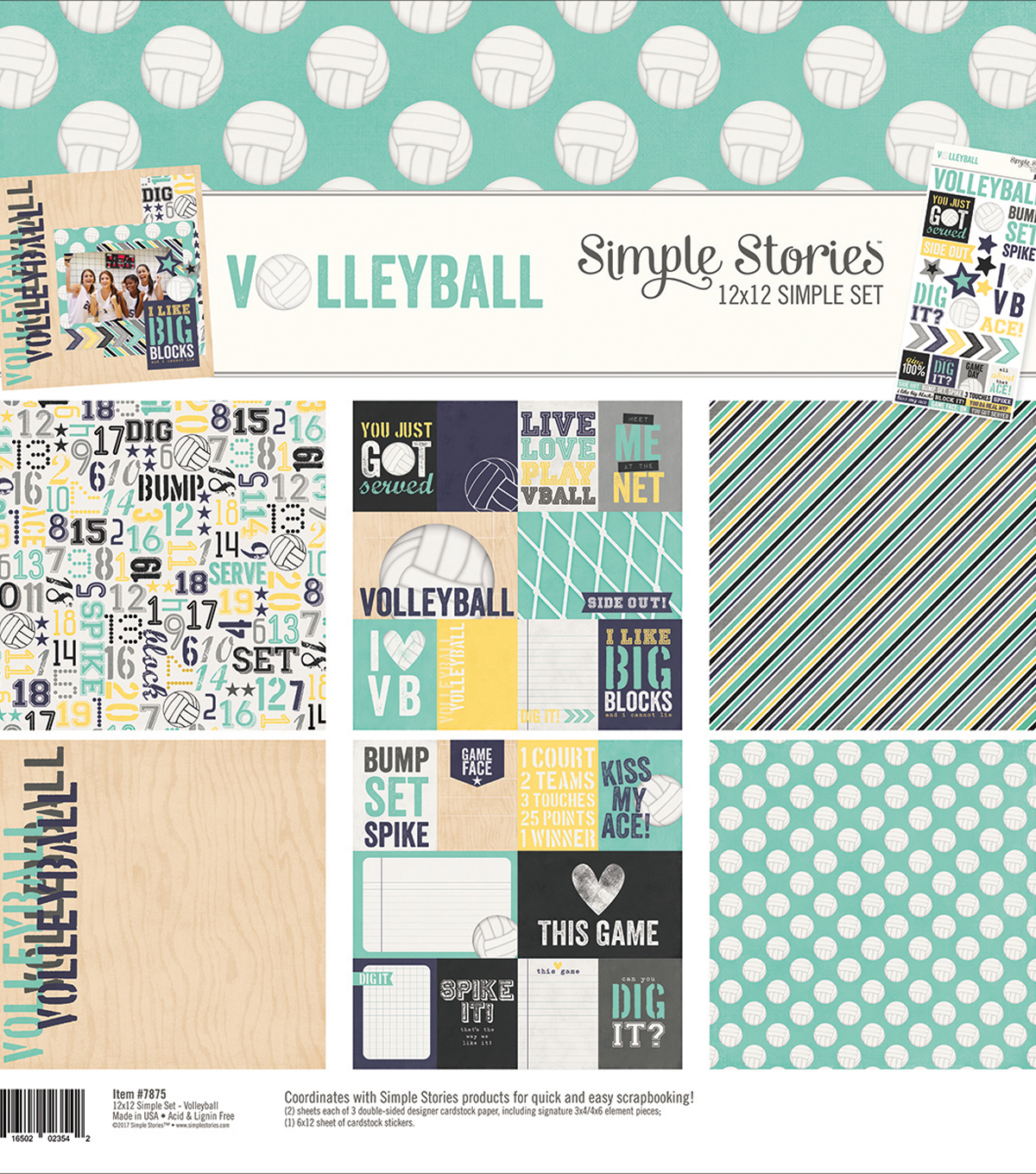 Simple Stories Simple Sets Collection Kit 12\u0022X12\u0022-Volleyball