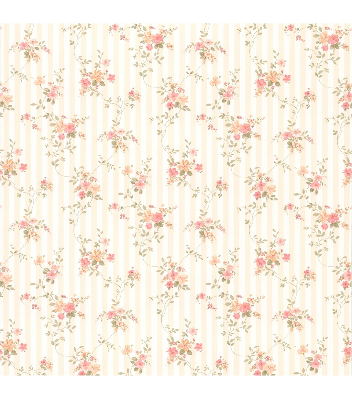 Delilah Peach Floral Stripe Wallpaper Joann