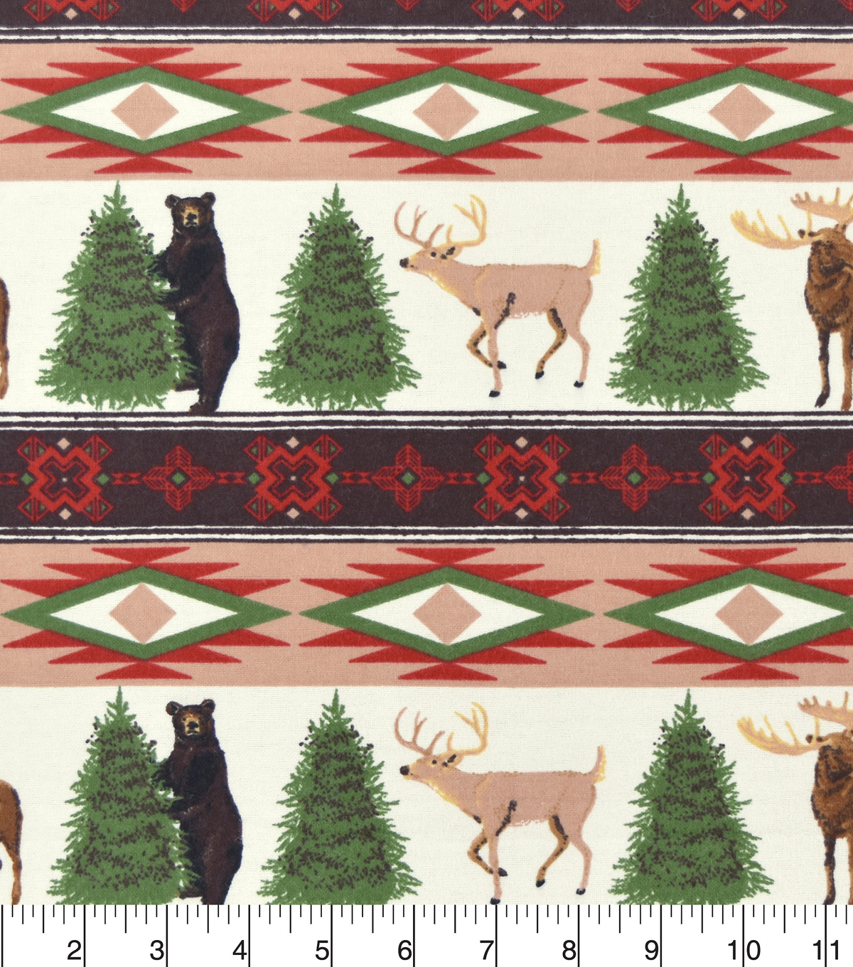 Snuggle Flannel Fabric -Wintertime Animal & Stripe