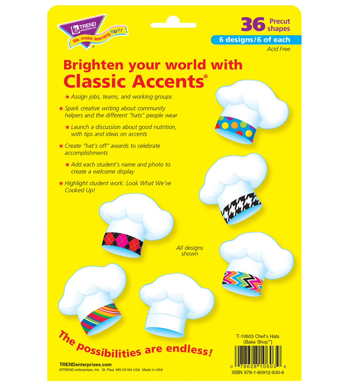 Chef\u0027s Hats The Bake Shop Accents Variety Pack, 36 Per Pack, 6 Packs