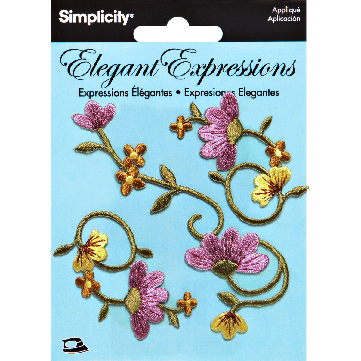 Elegant Expressions Embroidery Iron On Vine Appliques, 3 pcs