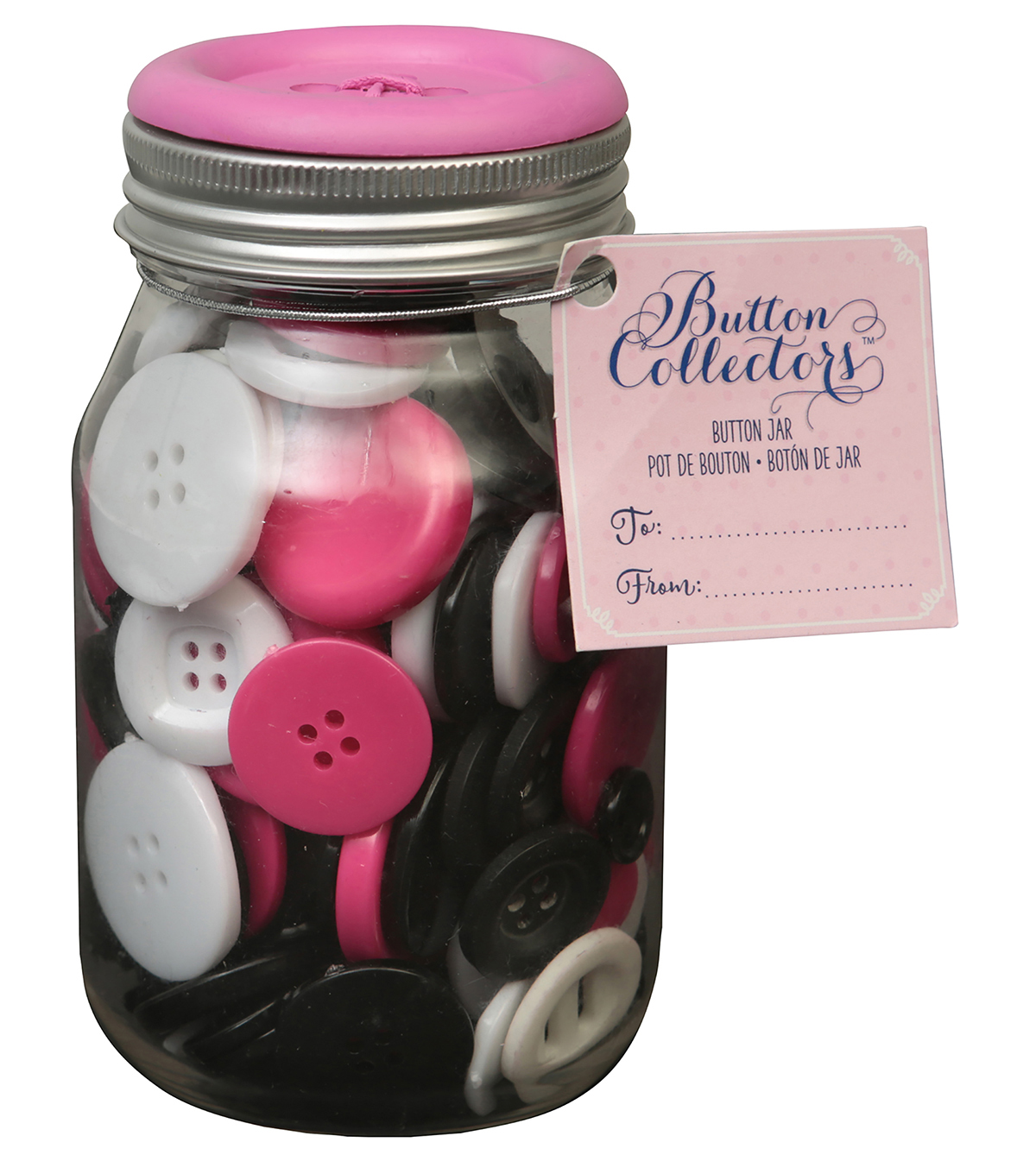 Button Collector Mason Jar-Pink White And Black