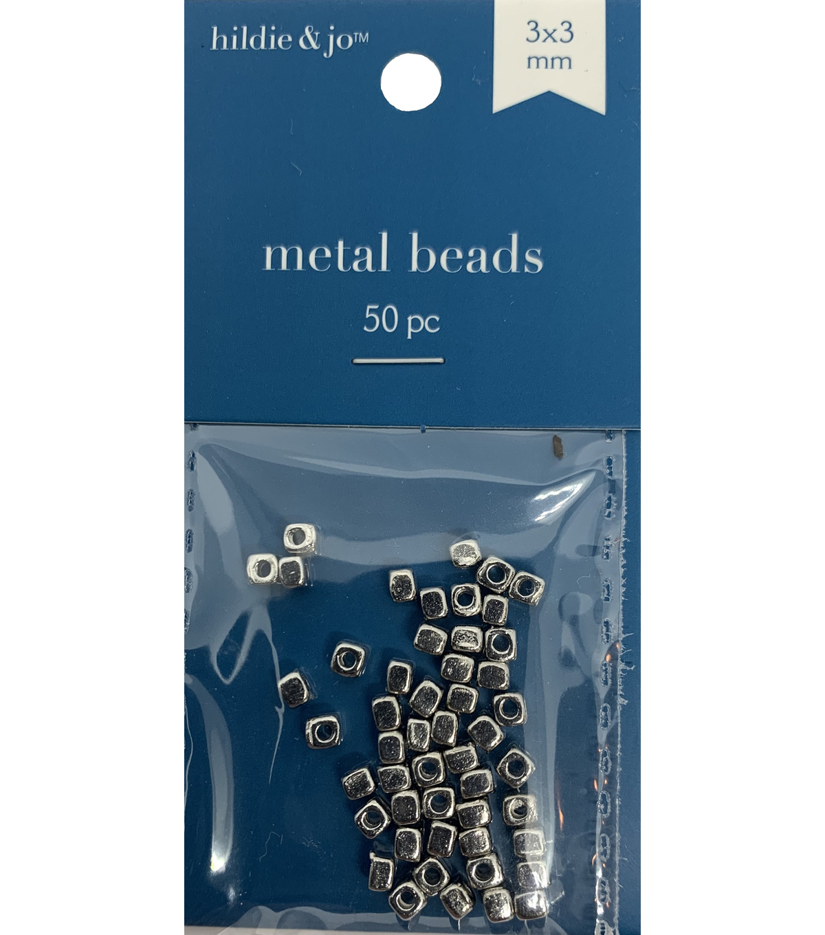 Blue Moon Beads Metal Bead 3x3mm, Square Spacer, Silver
