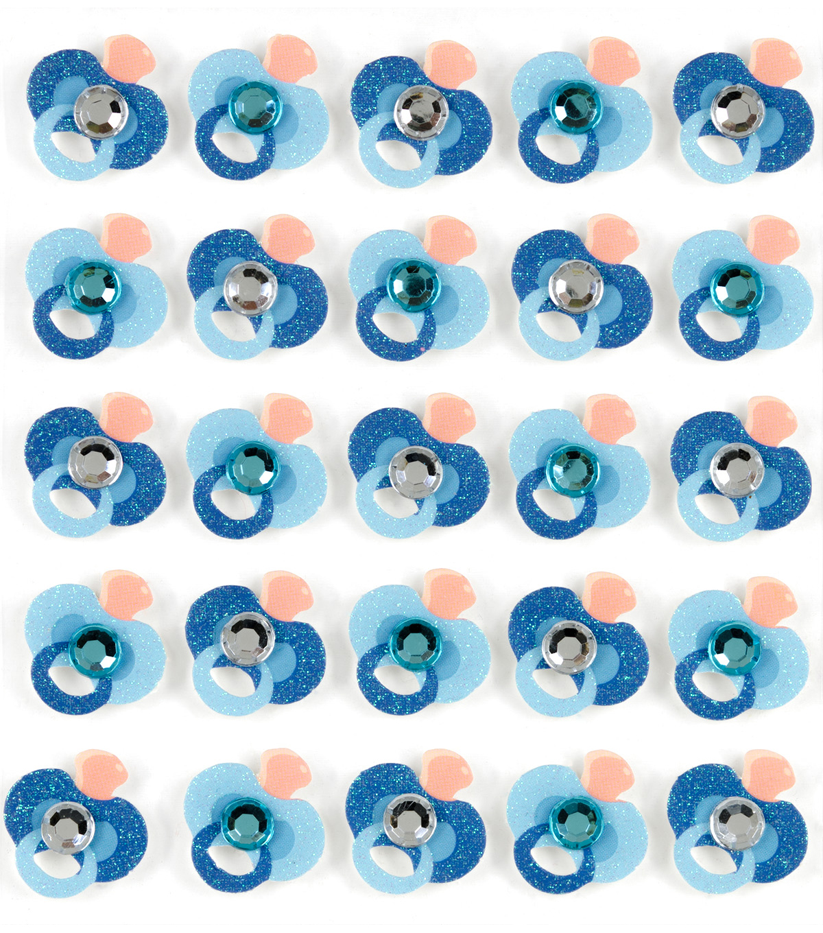 Jolee\u0027s Boutique 25 Pack Glitter Repeat Stickers-Blue Pacifier