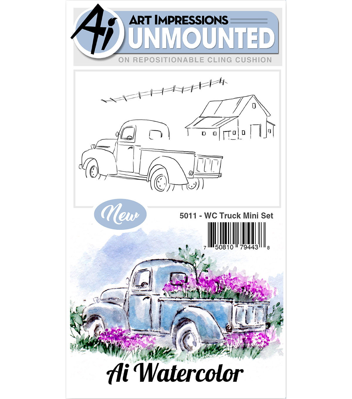 Art Impressions 3 pk Cling Rubber Stamps-Watercolor Truck Mini Set