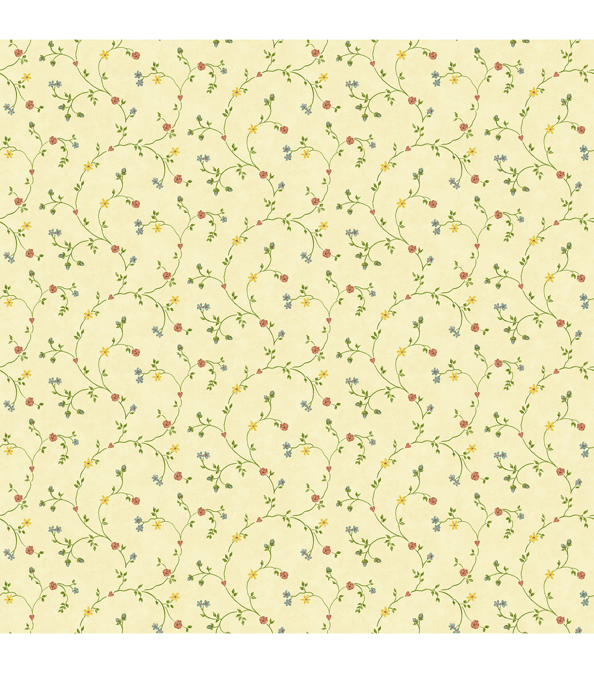 Nara Beige Floral Trail Wallpaper Sample