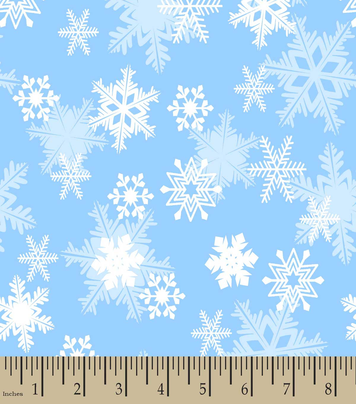 Blue Snowflakes Print Fabric