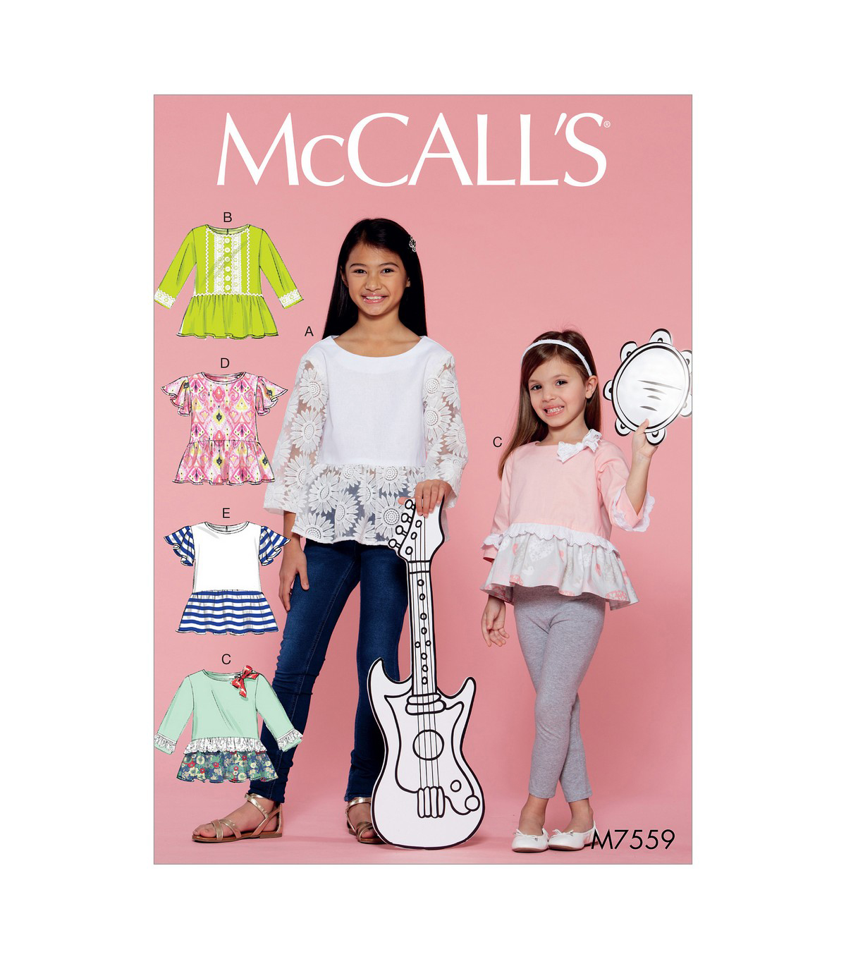 McCall\u0027s Pattern M7559 Girls\u0027 Peplum-Style Tops with Trim Variations, 3-4-5-6