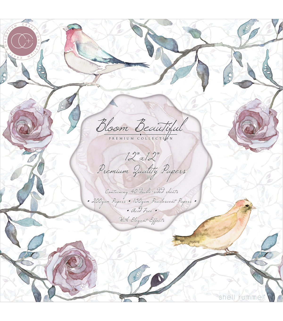 Craft Consortium 40pcs 12\u0027\u0027x12\u0027\u0027 Double-Sided Paper Pad-Bloom Beautiful
