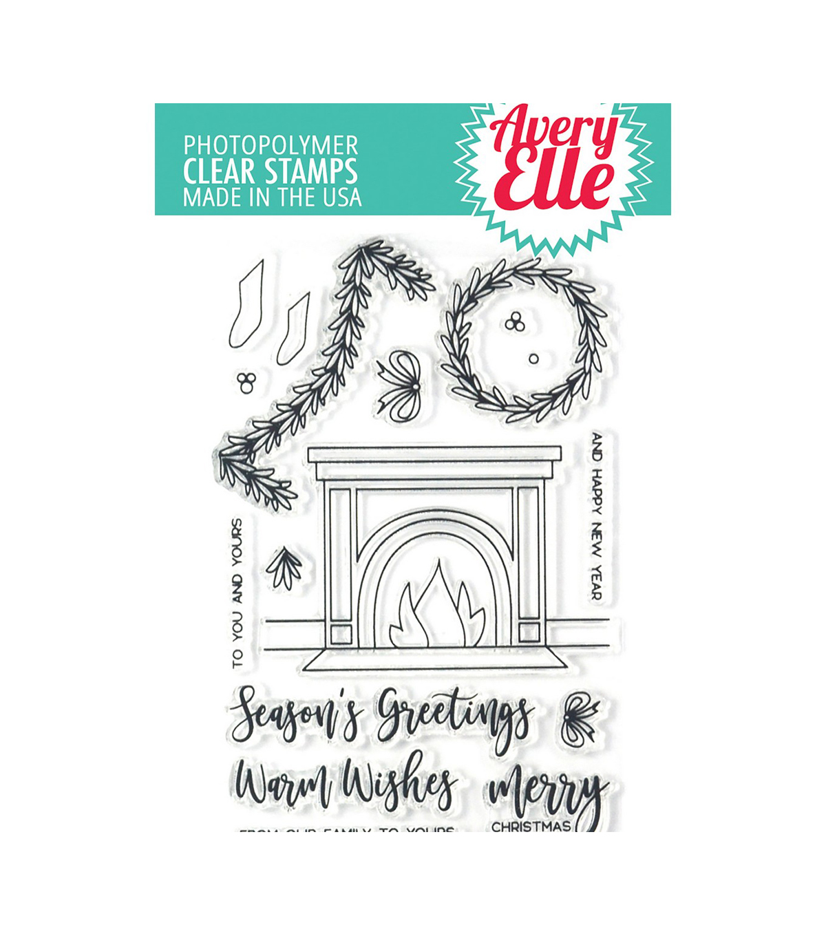 Avery Elle Christmas 17 pk Clear Stamps-Fireside