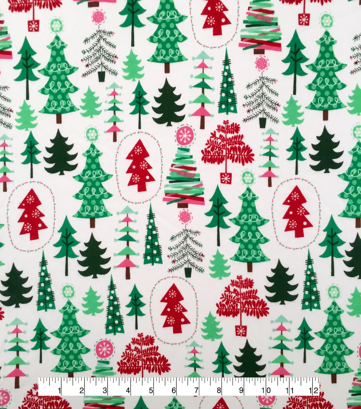Doodles Christmas Interlock Cotton Fabric -Multi Colored Trees