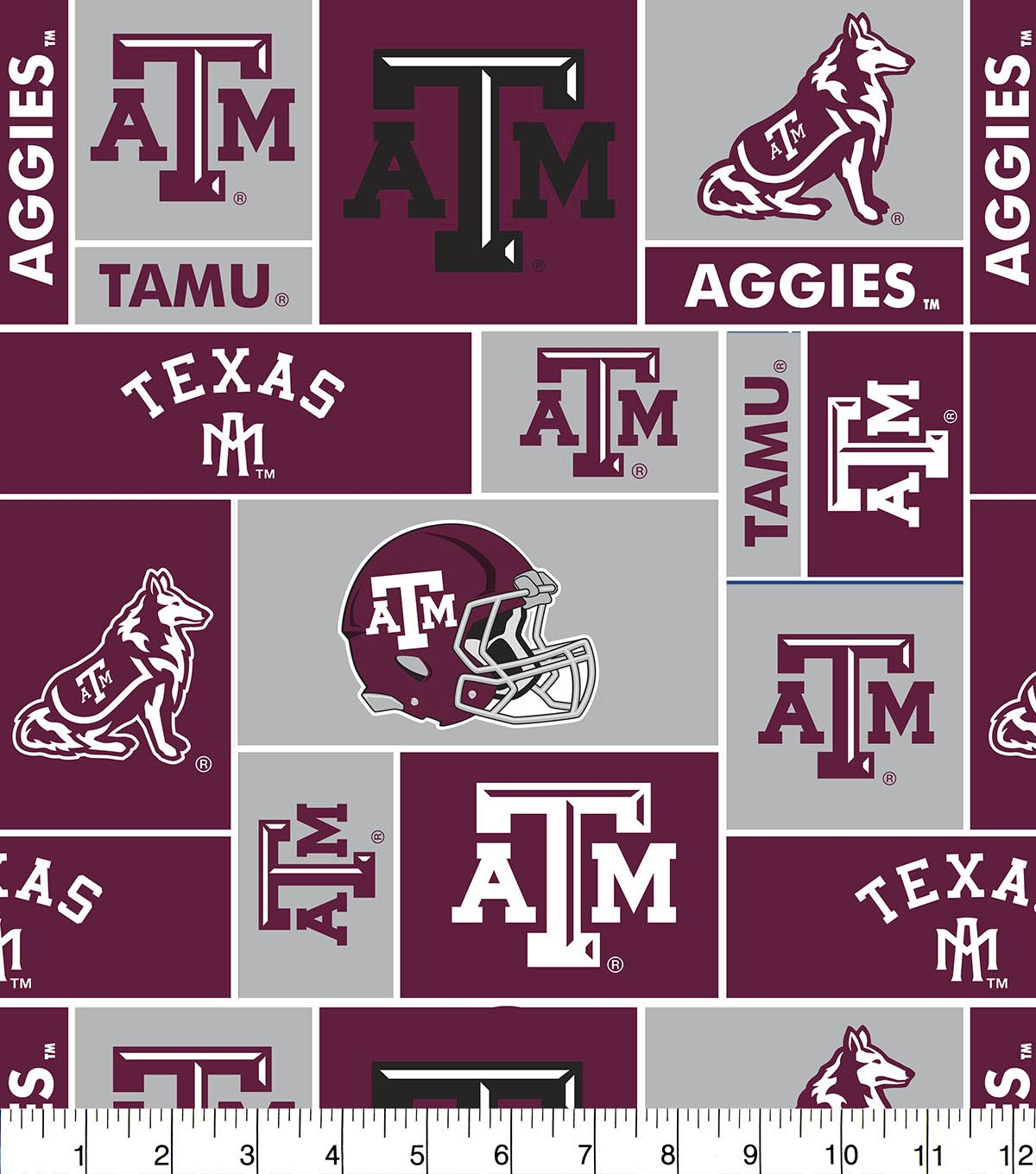 Texas A&M University Aggies Fleece Fabric -Block