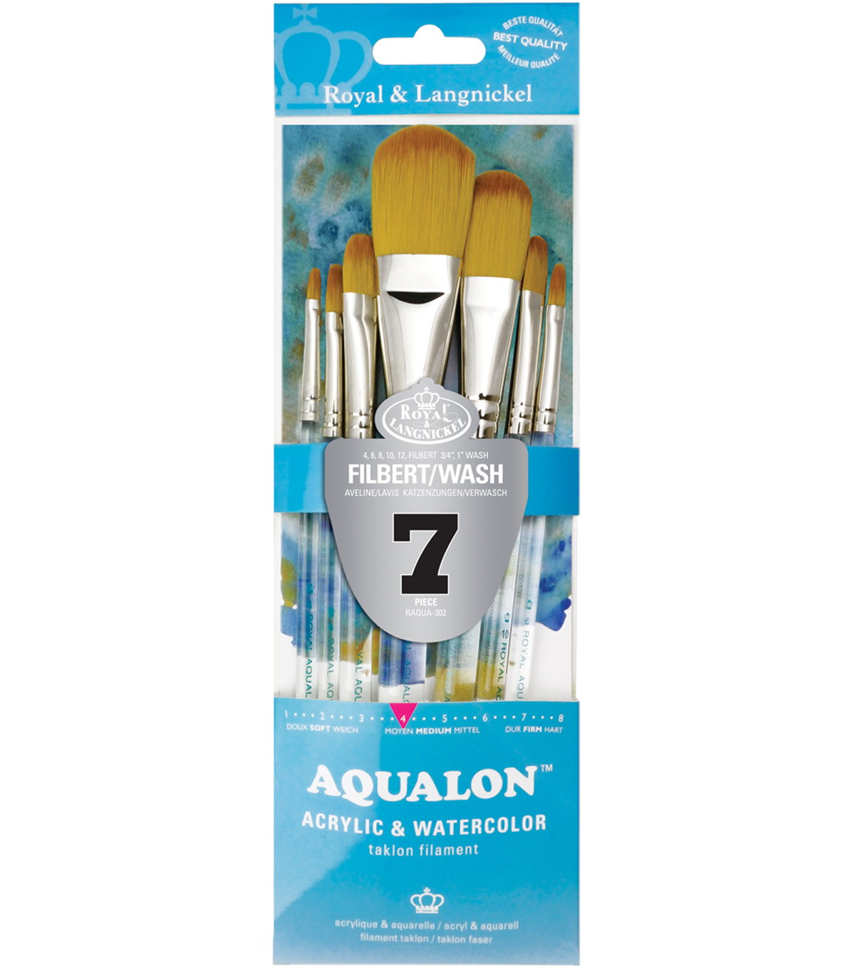 Aqualon Filbert Brush Set-7 Pack
