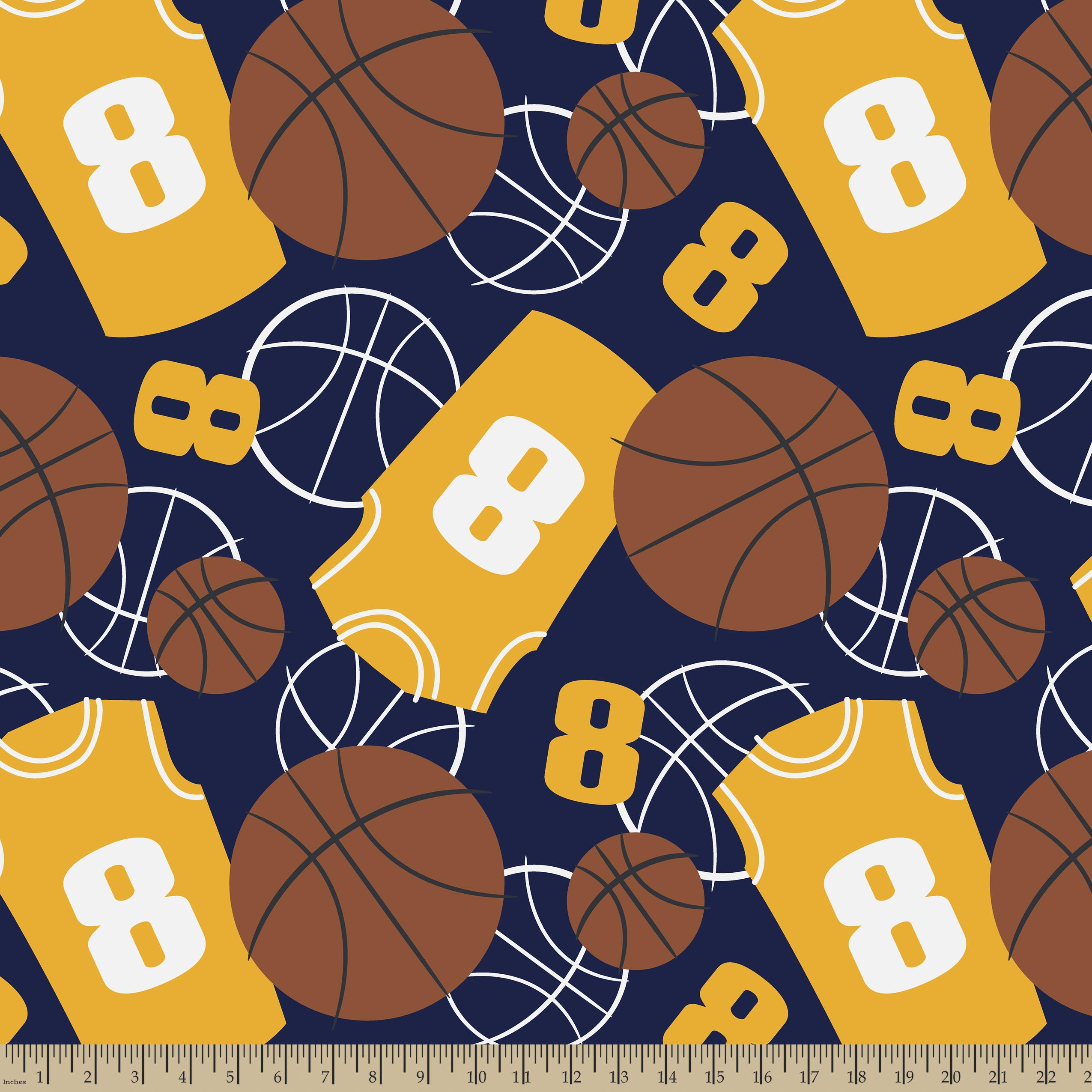 Navy & Gold Basketball Print Fabric