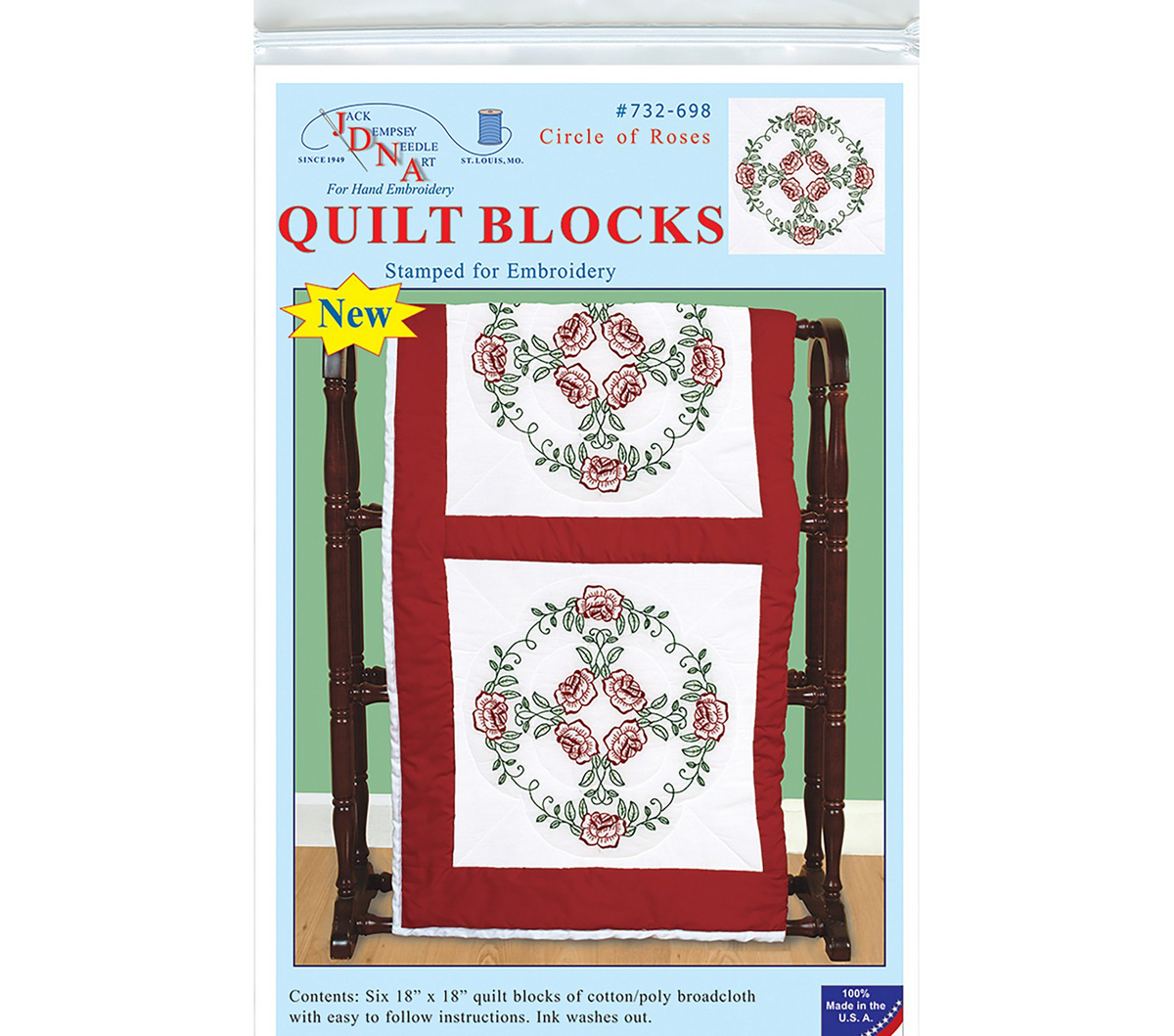 Jack Dempsey Stamped White Quilt Blocks 18\u0027\u0027X18\u0027\u0027 6/Pkg-Circle Of Roses