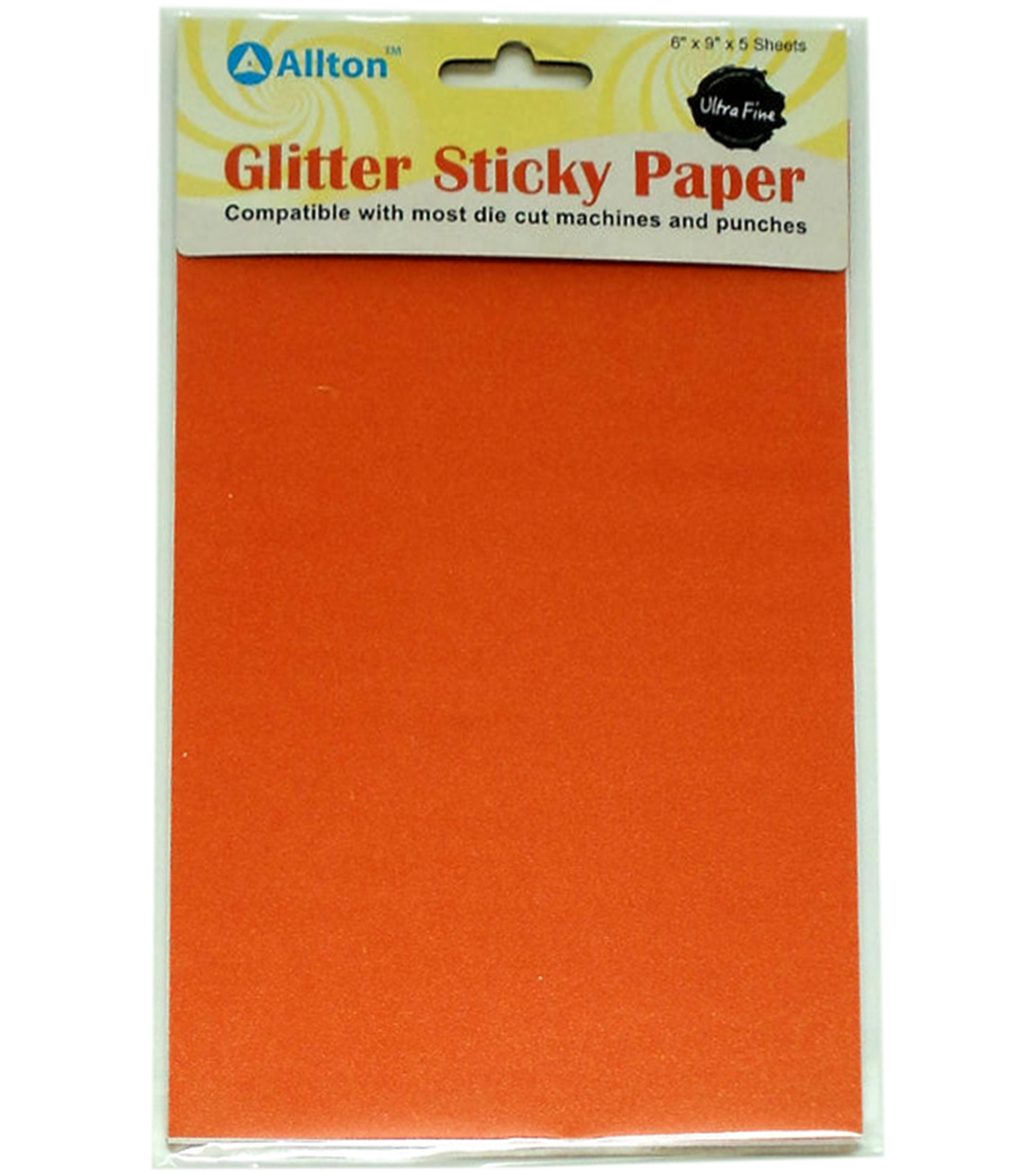 Allton 6\u0022X9\u0022 Ultra Fine Glitter Sticky Paper-Orange