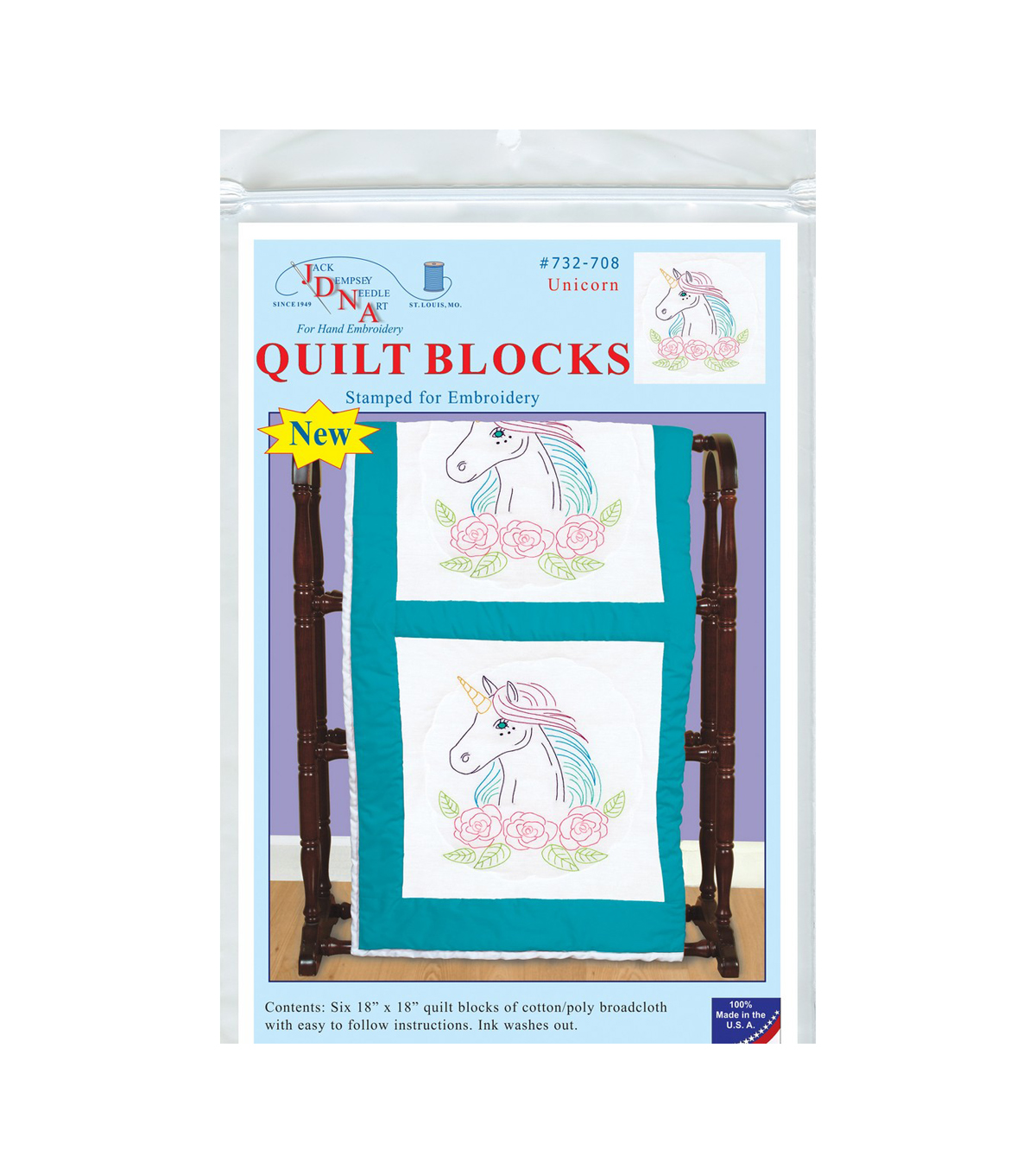 Jack Dempsey Stamped White Quilt Blocks 18\u0022X18\u0022 6/Pkg-Unicorn