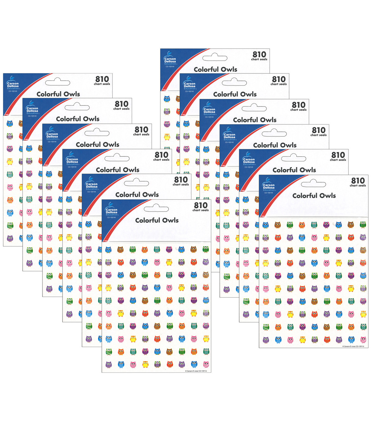 Colorful Owls Charts Seals, 12 Per Pack