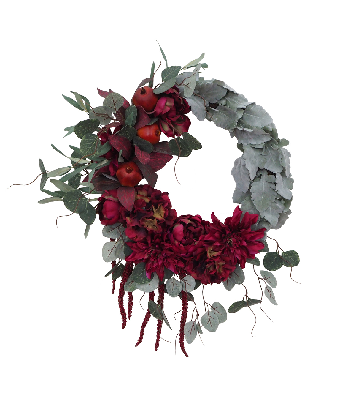Blooming Autumn Peony, Dahlia & Greenery Wreath