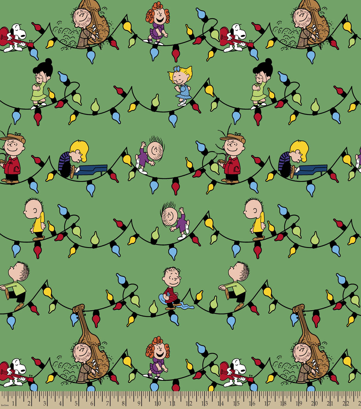 Peanuts Print Fabric-Snoopy & Friends Christmas
