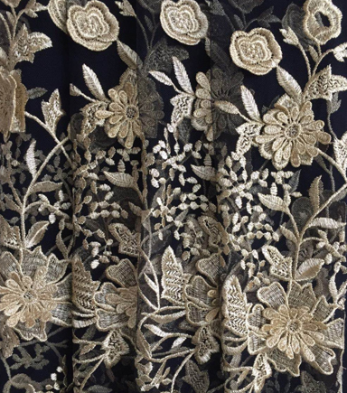 Casa Embellish Gardinia 3D Mesh Fabric -Gold With Black Back