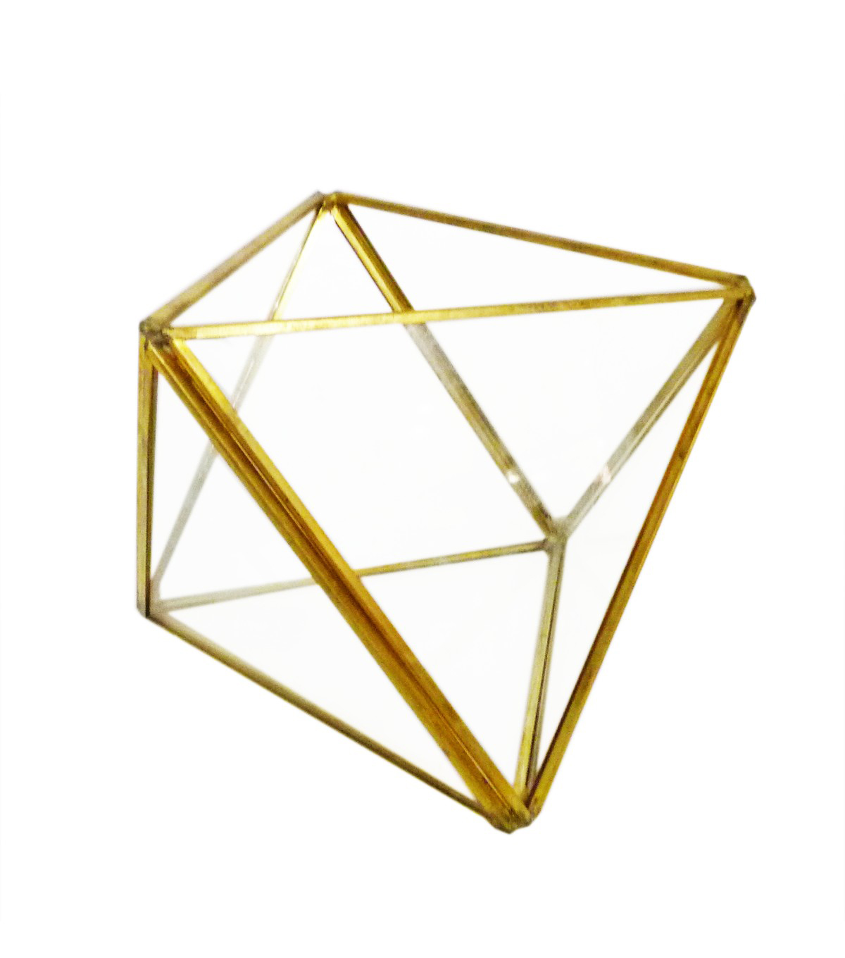 Bloom Room Glass & Metal Geometric Shape Terrarium-Gold Finish