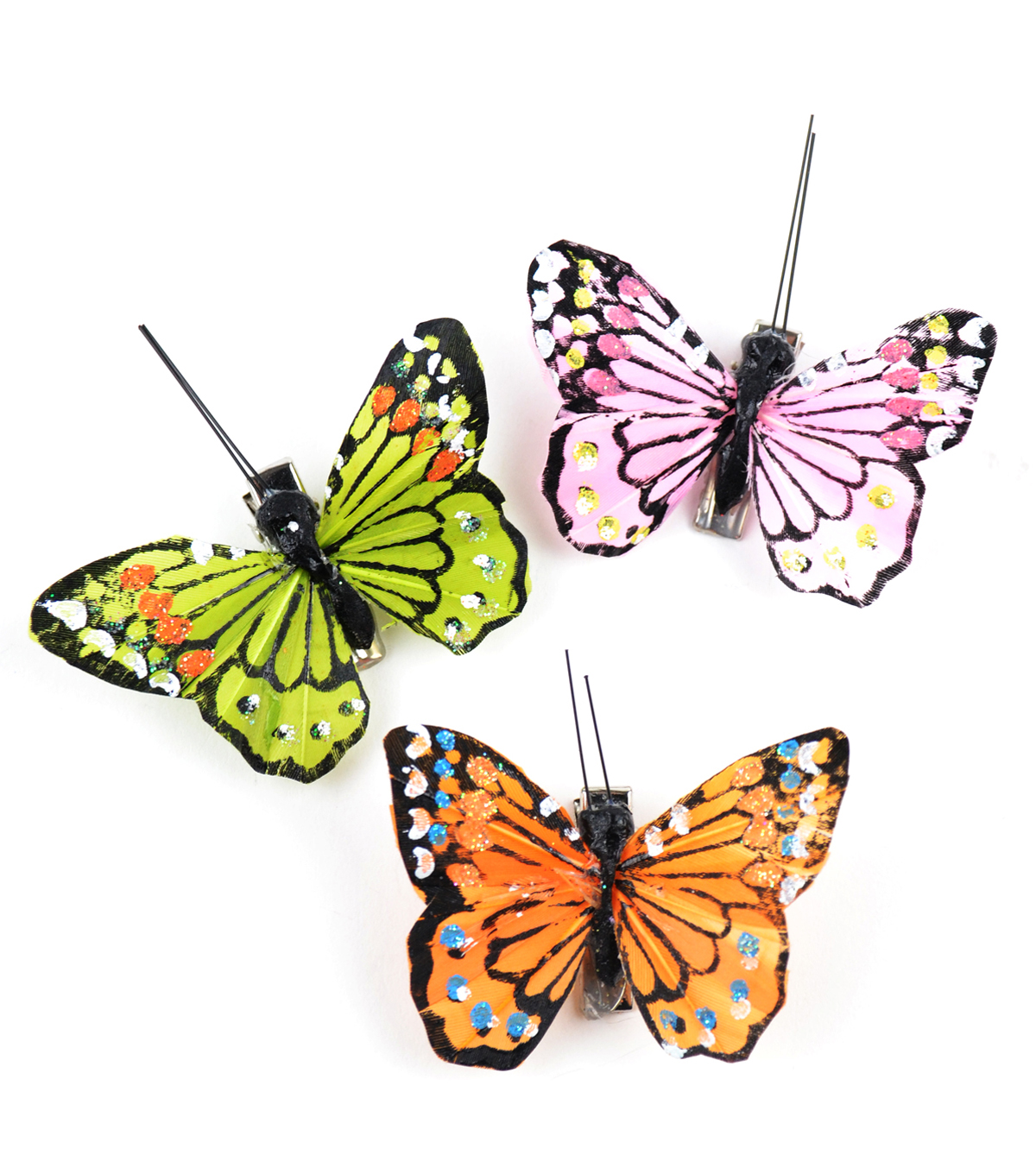 Feather Glitter Monarch Butterfly 2.5\u0022 Asst-3 pc