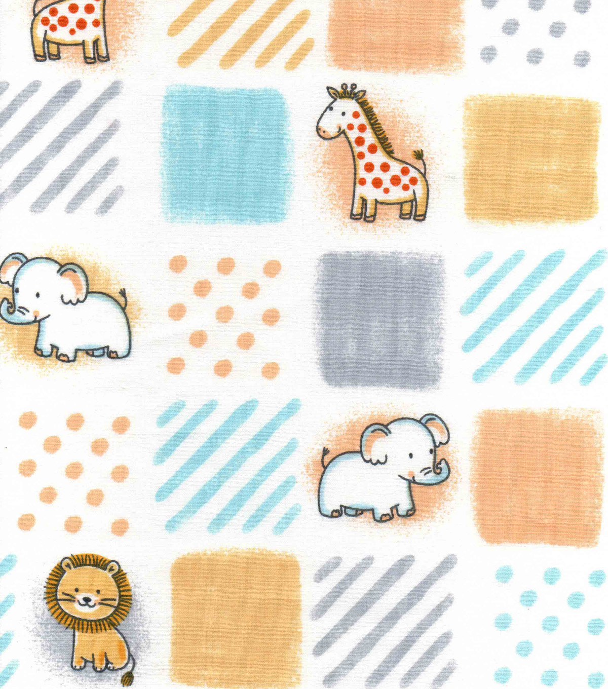 Nursery Cotton Fabric -Safari Patchwork
