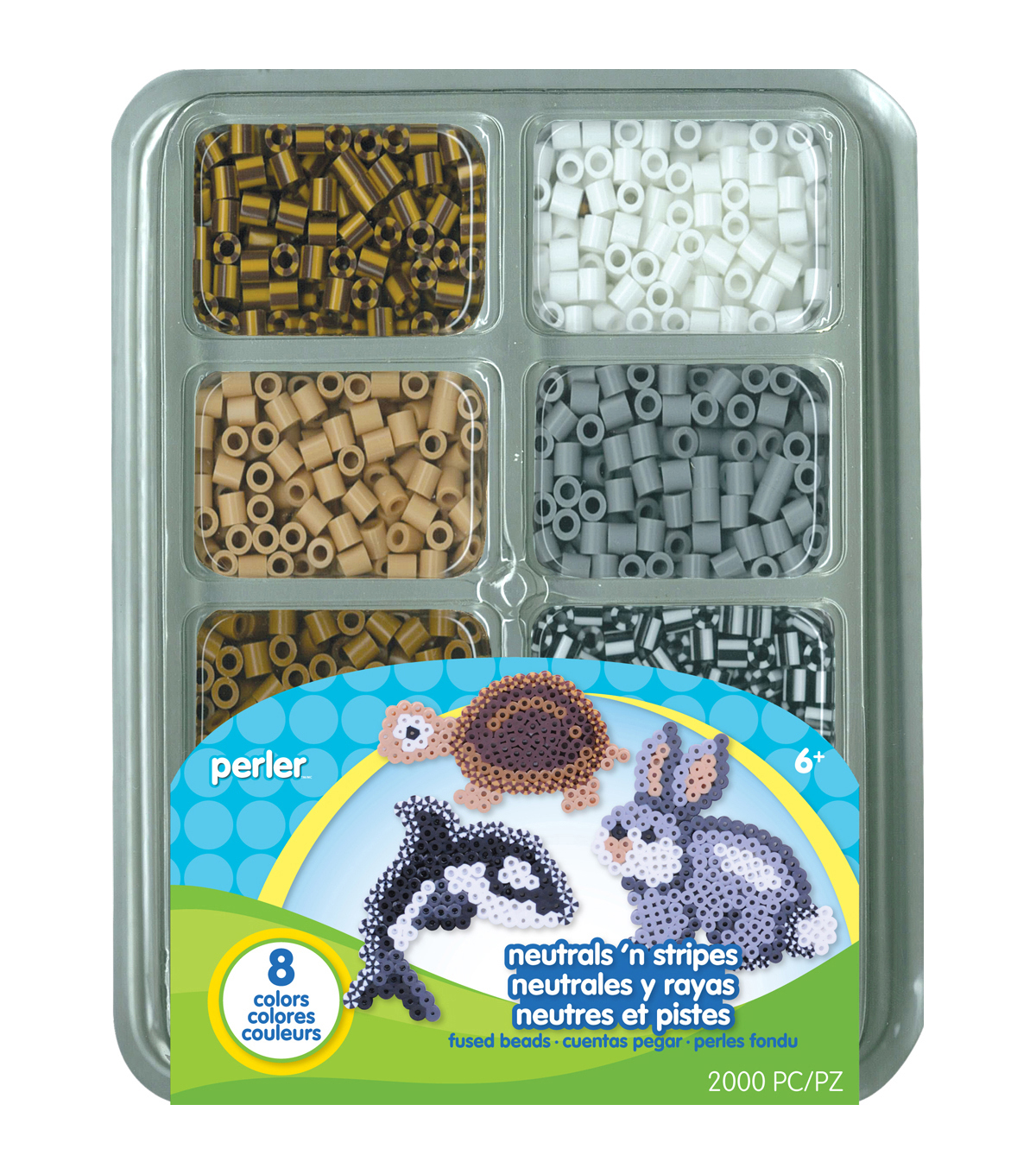 Perler Fused Bead Tray 2000/Pkg- Neutrals \u0027n Stripes