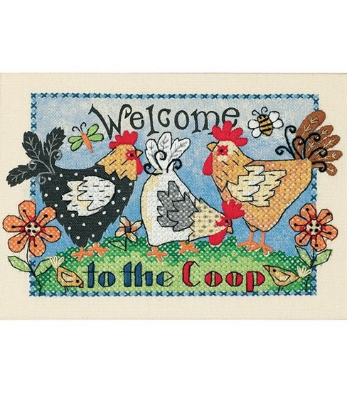 Dimensions Mini Stamped Cross Stitch Kit Welcome To The Coop