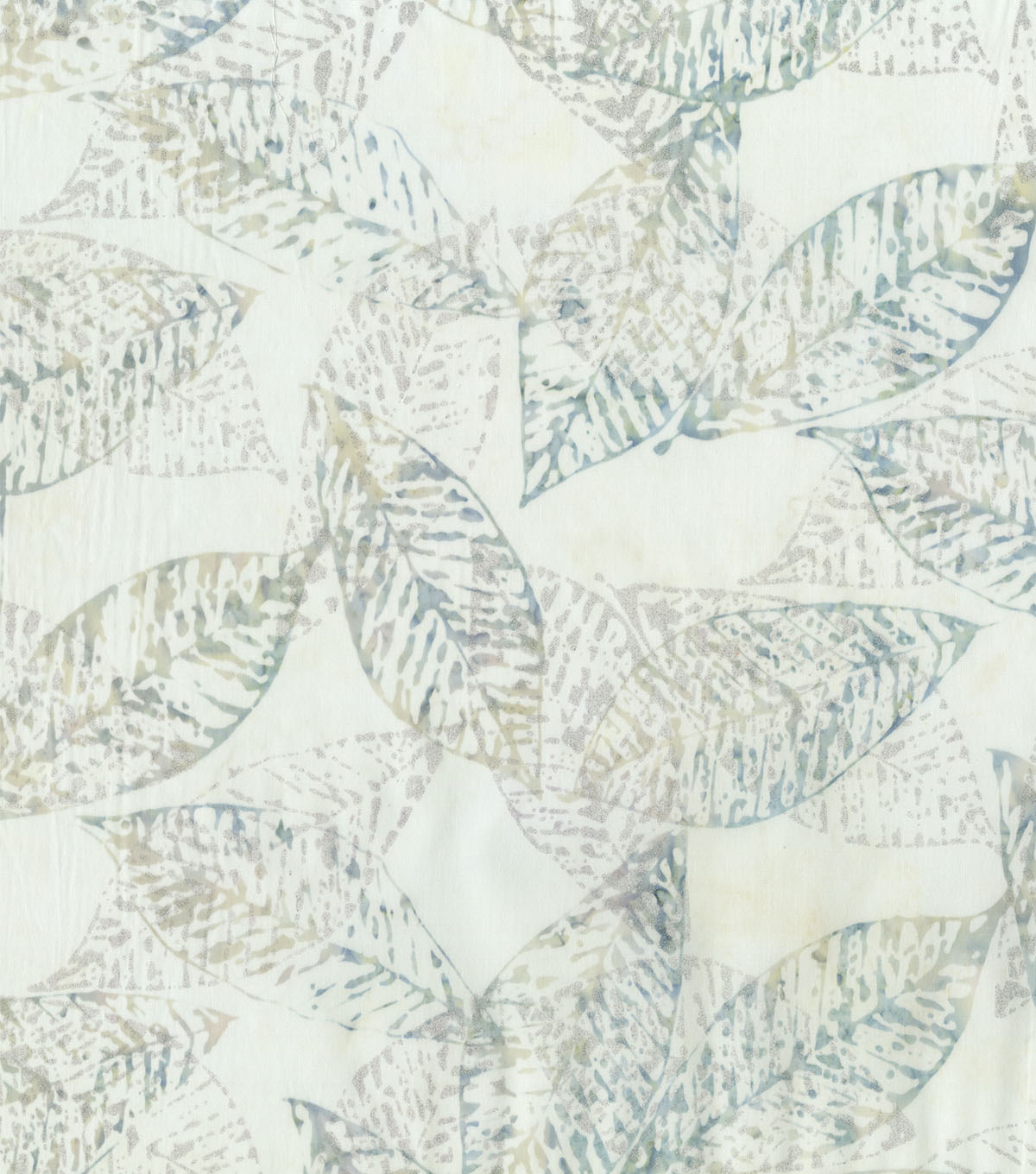 Indonesian Batik Cotton Fabric-Stamped Leaves Metallic