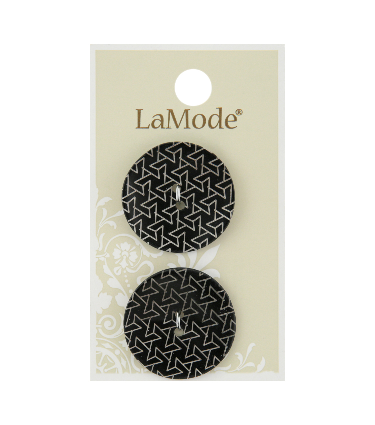 La Mode 2 pk 27 mm Agoya Shell 2 Hole Buttons-Geometric on Black