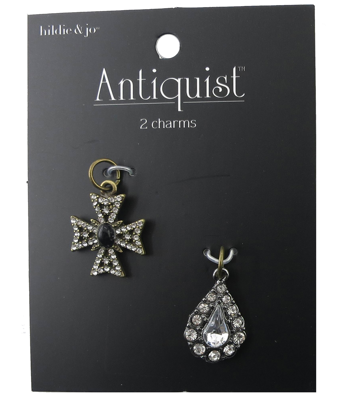 hildie & jo Cross Antique Gold & Teardrop Antique Silver Charms